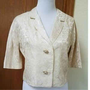 Vintage R&K White Brocade Short-sleeved Dressy Top